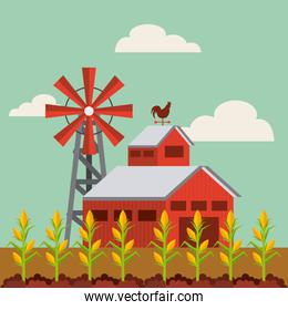 red barn and farm landscape