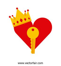 heart, key and crown icon