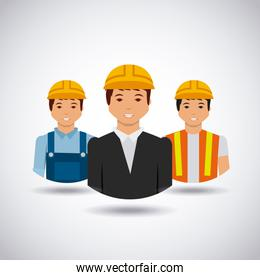 construction workers cartoon icon