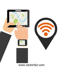 location pin and hand holding a tablet