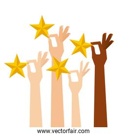 hands with golden stars