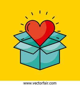 cardboard box with heart cartoon coming out  concept image