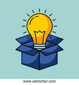 cardboard box with lightbulb coming out idea concept image