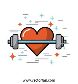 cartoon heart with weights image