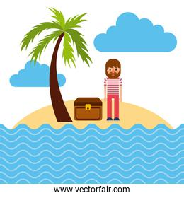 cartoon sailor standing with treasure chest in beach tropical