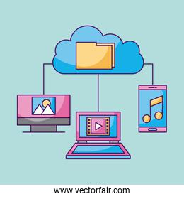 cloud computing file technology connected laptop pc mobile phone