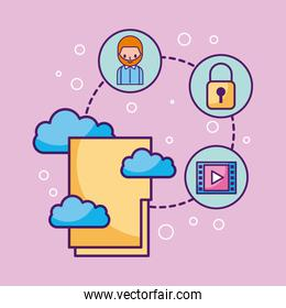 folder file cloud computing connected information system technology