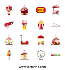 collection of elements related to carnival and circus festival