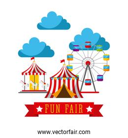 amusement fun fair theme park poster template