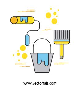 construction paint bucket roller and brush tool icons