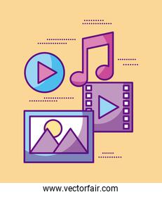 multimedia video music picture play desing