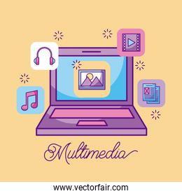 multimedia laptop picture information storage icons