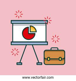 business office board presentation graph and briefcase