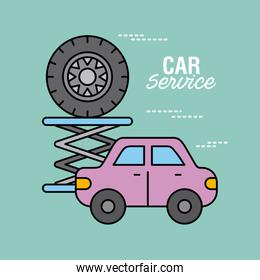 car service vehicle and tire repair support