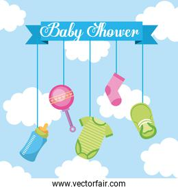baby shower lettering hanging elements decoration