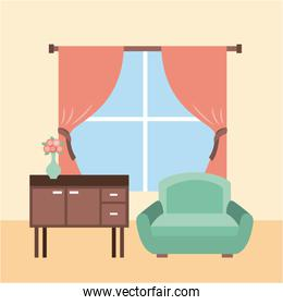 living room interior a sofa furniture cabinet drapes window and flower vase