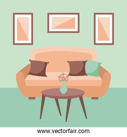 living room interior a sofa pillows table flower and frame