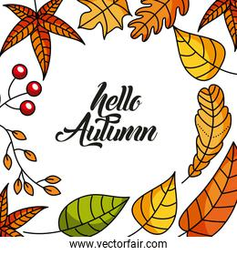 hello autumn season greeting card