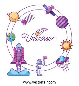 space icons of universe galaxy journey and technology