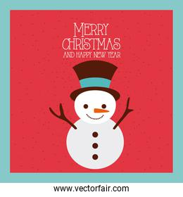 merry christmas and happy new year snowman funny cartoon