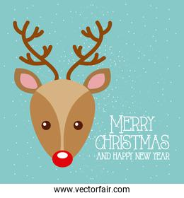 merry christmas and happy new year cute deer red nose