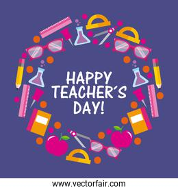happy teacher day card celebration elements stationery supplies round