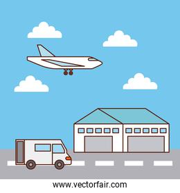 warehouse delivery airplane and truck transport