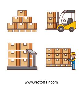 logistic concept worker boxes scale stools warehouse