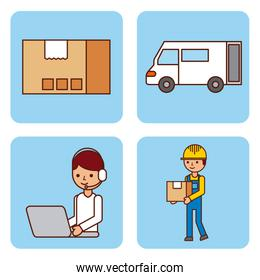 set of worker logistic delivery truck cardboard box