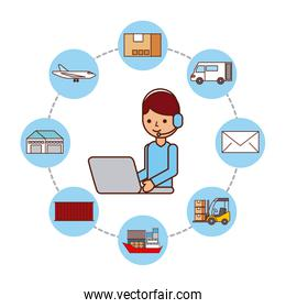 worker with laptop logistic delivery shipping