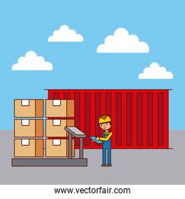 logistic worker and container cradboard boxes on scale weight