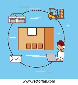 cardboard box delivery logistic mail warehouse and forklift