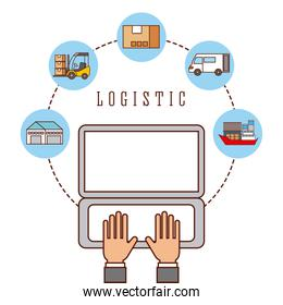 hand worker working laptop logistic concept