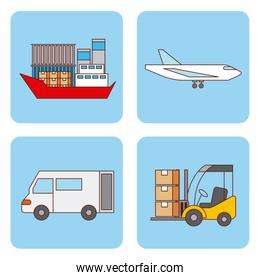 set of logistic shipping and delivery transport
