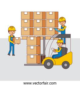 logistic warehouse people forklift and cardboard boxes