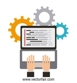 hands of programmer working web programming solution languages