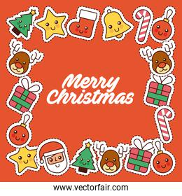 merry christmas card invitation decoration frame icons