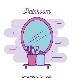 bathroom mirror and shelf with toothbrush soap