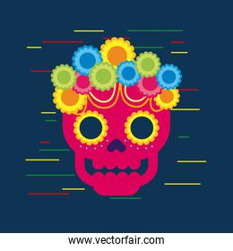 day of the dead skull with floral ornament blue background