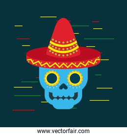day of the dead blue skull with mexican hat ornament