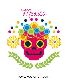 mexico day of the dead skull with floral ornament