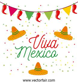 viva mexico poster colored hats and pennant decoration celebration