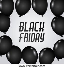 black friday poster with dark shiny balloons isolated on white background