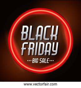 black friday sale inscription on red bright circle banner