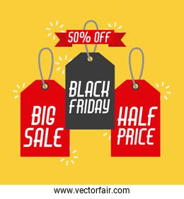 black friday sales tag and banners discount and price design label