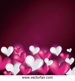 pink and white hearts decorative love blur glossy