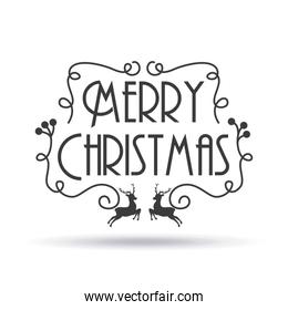 merry christmas card lettering reindeer decoration shadow