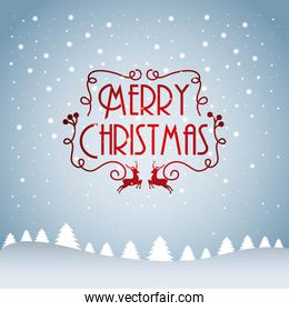 merry christmas card tree pine snow falling text decoration