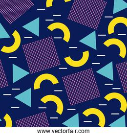 memphis geometric seamless pattern repeating square half circle figure in blue yellow