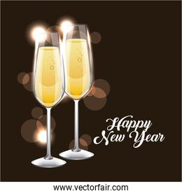 happy new year pair of champagne glass cheers